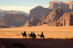Wadi Rum desert, Jordan. Scenic view during camel trip in Wadi Rum desert Stock Photos