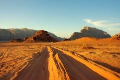 Wadi Rum desert, Jordan. Scenic evening view during safari in Wadi Rum desert Stock Images