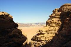 Wadi Rum desert, Jordan. Scenic view during mountain climb in Wadi Rum desert Stock Photos