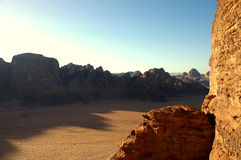 Wadi Rum desert, Jordan. Scenic view during mountain climb in Wadi Rum desert Royalty Free Stock Photos