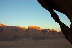 Wadi Rum desert, Jordan. Scenic view during mountain climb in Wadi Rum desert Royalty Free Stock Images