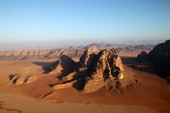 Wadi Rum desert in Jordan. Wadi Rum desert in Jordan, view from a air balloon royalty free stock images
