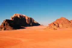 Wadi Rum desert, Jordan. Wadi Rum (Arabic: وادي رم) also known as The Valley of the Moon (Arabic: وادي القمر) is a valley cut into the Royalty Free Stock Photos