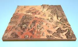 Wadi Rum desert Jordan map aerial view. Aerial view of Wadi Rum and the surrounding area map in 3d Stock Image