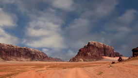 Wadi Rum Desert, Jordan, Middle East. Also known as The Valley of the Moon is a valley cut into the sandstone and granite rock in southern Jordan 60 km to the stock video footage