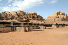Wadi Rum desert. In Jordan on a sunny day. In the background are mountains royalty free stock photography