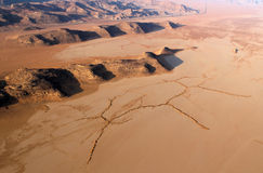 Wadi Rum Desert landscape from above Royalty Free Stock Photography