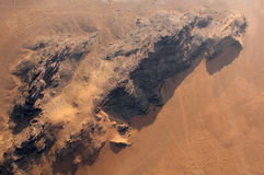 Wadi Rum Desert landscape from above. Wadi Rum Desert beautiful landscape from above. Jordan Stock Image