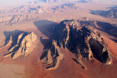 Wadi Rum Desert landscape from above Stock Images