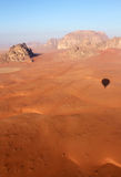 Wadi Rum Desert landscape from balloon. Wadi Rum Desert beautiful landscape from above. Jordan Royalty Free Stock Images