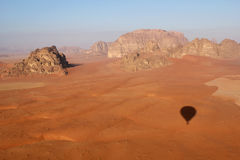 Wadi Rum Desert landscape from balloon Royalty Free Stock Images