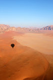 Wadi Rum Desert landscape from balloon. Wadi Rum Desert beautiful landscape from above. Jordan Stock Photography