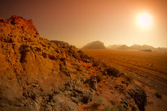 Wadi Rum desert landscape,Jordan by sunrise Royalty Free Stock Images