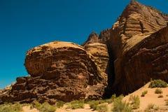 Wadi Rum desert, mountain landscape, Valley of the Moon, Jordan. UNESCO World Heritage. Adventure exotic concept. Stock Photo