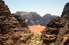Wadi Rum, Jordan. Exit from Rakabat Canyon, Wadi Rum Stock Photos