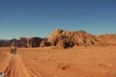 Wadi Rum, Jordan. Evening safari in Wadi Rum desert Stock Image
