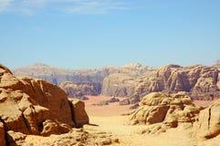 Wadi Rum, Jordan. Scenic view during accent on Burdah mountain Stock Images