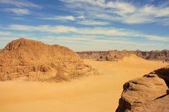 Wadi Rum, Jordan. Scenic view during accent on Burdah mountain Royalty Free Stock Photos