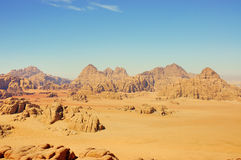 Wadi Rum, Jordan. Scenic view during accent on Burdah mountain Royalty Free Stock Images