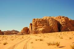 Wadi Rum, Jordan. Scenic view during safari in Wadi Rum desert Royalty Free Stock Photo