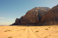 Wadi Rum, Jordan. Here is starting point of many hiking and climbing trails in Wadi Rum desert Stock Photography