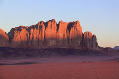 Wadi Rum-Jordan. Red rocky mauntains in Wadi Rum, Jordan at sunrise