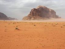 Wadi Rum, Jordan. Starting sand storm in desert, Wadi Rum, Jordan Royalty Free Stock Images