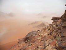 Wadi Rum, Jordan. Starting sand storm in desert, Wadi Rum, Jordan Stock Image