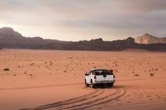 Bedouin`s car jeep in Wadi Rum desert in Jordan stock photography