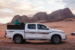 Bedouin`s car jeep in Wadi Rum desert in Jordan royalty free stock image