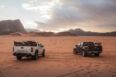 Bedouin`s car jeep in Wadi Rum desert in Jordan stock photography