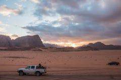 Bedouin`s car jeep in Wadi Rum desert in Jordan royalty free stock photography
