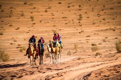 WADI RUM, JORDAN - Nov 2009: A group of tourists ride camels through the sandy desert of the UNESCO world heritage site of Wadi Ru stock photo