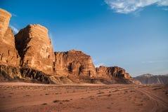 Wadi rum landscape, desert and mountains, Jordan. Road on adventure Royalty Free Stock Photos