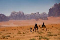 Wadi Rum maestoso, aka valle della luna, di una riserva naturale protetta con le montagne drammatiche dell'arenaria e della rocci immagine stock