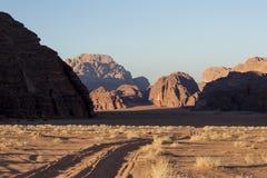 Wadi Rum The Moon Valley desert landscape at sunset time, Jordan Stock Image