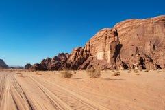 Wadi Rum, o vale da lua, Aqaba, Jordânia, Médio Oriente Imagem de Stock Royalty Free