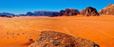 Wadi Rum. Panoramic view of the desert of Wadi Rum, Jordan Stock Images