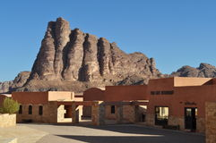 Wadi Rum Reservation. Wadi Rum Visitor Center& The Seven Pillars of Wisdom Royalty Free Stock Images