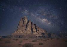 Wadi Rum. Starry night in Wadi Rum desert, Jordan stock photography