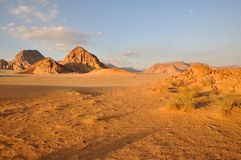 Wadi Rum sunset. Wadi Rum desert landscape, Jordan Royalty Free Stock Image