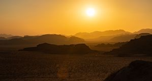 Wadi Rum Sunset II. A picture of Wadi Rum`s landscape at sunset royalty free stock photo