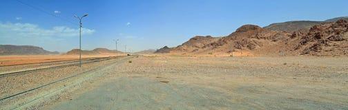 Wadi Rum Train. Ancient Turkish Railroad in Wadi Rum, Jordan royalty free stock images