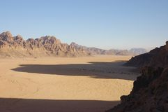 Wadi Rum valley, Jordan. Wadi Rum valley at the morning. Best place for climbing and Eco-tourism Royalty Free Stock Photo