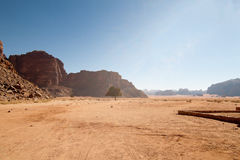 Wadi rum view. The desert of Lawrence of Arabia view Royalty Free Stock Photos