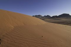 Wadi rum view. The desert of Lawrence of Arabia view Stock Images