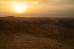 Wadi Rum view at the sunset Royalty Free Stock Photo