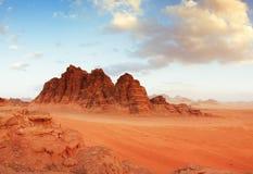 Wadi Rum-woestijn, Jordanië Stock Afbeeldingen