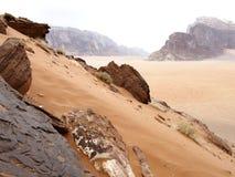 Wadi Rum-woestijn Jordanië Royalty-vrije Stock Afbeeldingen