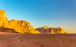 Wadi Rum-woestijnlandschap - Jordanië Stock Foto's